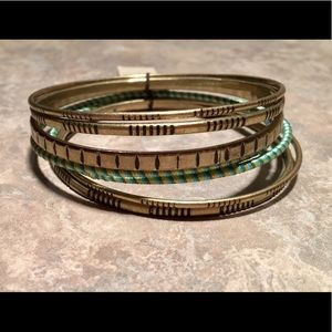 The Sak Set of 7 Brushed Gold-Tone & Mint Bangles